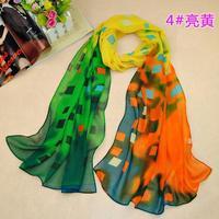 Wholesale 4 colors 160*50cm Spring 2014 new fashion Chiffon scarf women grid print Summer silk blend scarves shawl echarpes aw34