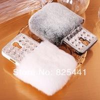 Luxury Women Winter Warm Rabbit Fur Diamond Rhinestone Crystal Case Back Cover For Galaxy S3 S4 Note 2 3 i9300 i9500 N7100 N9000