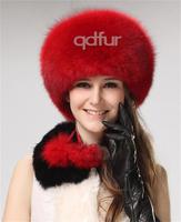 2014 Winter Women's Genuine Real Fox Fur Fedoras Hats Lady Warm Headgear Caps QD30261-2