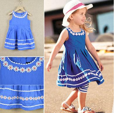 Hot Sale,5pcs/Lot!2014Summer brand children dresses cute floral girl's dress fashion designer kids girls dress children clothing(China (Mainland))
