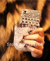 Bling Big Rhinestone Crystal Diamond Flash for iphone 4 4S 5 5S Case Retail Soft Genuine Rabbit Fur Case for iphone 4 4S 5 5S 5C