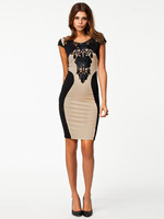 MC17943 New Arrival Women Elegant Embroidery Bodycon Dresses Patchwork Spring Casual Bandage Dress Sexy Fashion Pencil Dresses