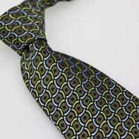 Yibei Coachella Men's ties Olive Green Blue Grids Plaid Woven Necktie Formal Neck Tie 9cm