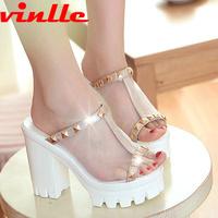 VINLLE 2014  fashion high heel sandals  women sexy platform fashion Sandals female size  34-39