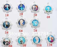 Frozen movie Anna,Elsa,Olaf,Sven character pendant for trendy kid child chunky bubblegum necklace accessories!11pcs/lot!