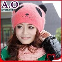 2014 New Arrival women's fashion Cartoon panda knitted cap Cute warm lady girl Rabbit fur hat free shipping