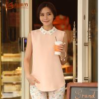 2014  gentlewomen  chiffon sleeveless plus size loose shirts blouse  Female basic loose chiffon shirt