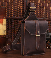 Crazy horse leather sling backpacks for men hiking riding sports bag TIDING 31032