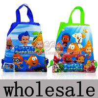 2014 New Arrival+Hot , Mixed 2 styles,12PCS  Bubble Guppies Non-woven fabrics Kid's School bag ,Cartoon Drawstring Backpack Bags