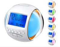 Nature Sound Alarm Digital Clock with 7 Color LED Flashing Calendar and FM Radio