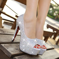 Rhinestone wedding shoes open toe high-heels white crystals single shoe women's/bridal shoes
