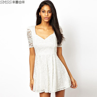 fashion women's high waist back short-sleeve slim waist square collar lace one-piece dress