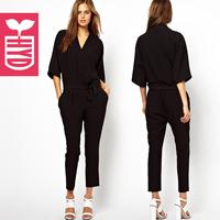 2014 summer fashion lacing ankle length trousers half sleeve jumpsuit V-neck skinny harem pants jumpsuit