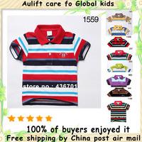 Roupas Meninos Child Alf1559 2pcs/lot Colors Sizes Boys Brand Horizontal Stripe Sleeve Kids T-shirts 100% Cotton free Shipping
