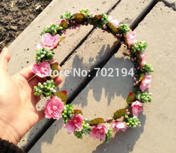 10x Hotsale wedding girl flower head wreaths 100% handmade silk rose and green bloom headpiece Hawaii head ornament NW024(China (Mainland))