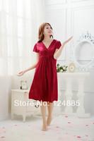2014 Summer charming sexy women's lace ice cotton refreshing thin short sleeve night skirts female slip dress lounge 51484