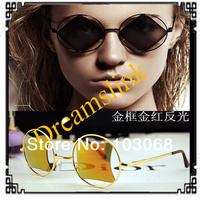 2014Triangle Reflective Sun Glasses Personalized Harajuku Style Retro Round Men Tide Europe And America Sunglasses Free Shipping
