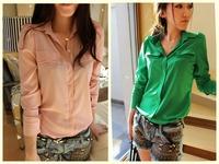 Free Shipping  Cheap Korean Style Fashion Casual Green/Pink Long Sleeve Chiffon Blouses & Shirts For Women New 2014 Tops ft05