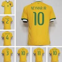 Brazil jersey football cup 2014NEYMAR jersey customized player american football jacket PELE T.SILVA OSCAR soccer jersey brasil