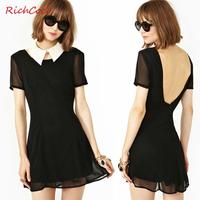 fashion slim deep V-neck racerback short-sleeve o-neck solid color chiffon one-piece dress
