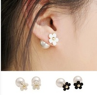 Elegant Black or White Flower Pearl Ear Cuff Earrings for women 2014 Korean Fashion 18k gold plated