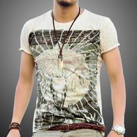 2014 summer new retro big Sheepshead thin section round neck cotton men's short-sleeved T-shirt Slim Y1P1