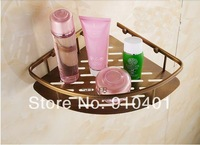 Free Shipping Wholesale And Retail Promotion NEW Fashion Bathroom Antique Brass Shower Caddy Shelf Bath Corner Storage Holder