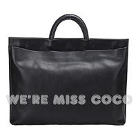free shipping Miss coco2013 fashion genuine leather unisex wind quality formal black handbag