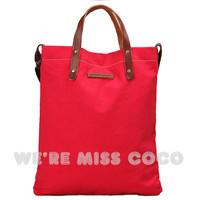 free shipping Miss coco2013 spring and summer genuine leather handle senior canvas handbag messenger bag