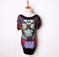 Fashion desigual print short-sleeve sweater female