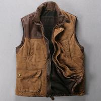 2014 Fashion leather vest Men suede sheepskin vest silk floss slim stand collar short design vest Y1P0