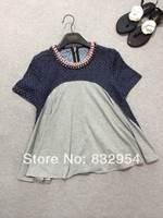 2014 new summer women stitching holes cowboy doll cotton short-sleeve T-shirt