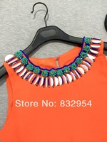 2014 new summer women dress brightly colored beaded vest