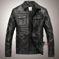 Fashion genuine sheepskin leather clothing Men turn-down collar business casual short design leather jacket outerwear  P10