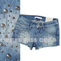 free shipping Miss coco2014 summer female sexy slim skull stick denim shorts