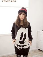 2013 Fashion Women New Tops Ladys Cartoon Mickey Mouse Print Hoodies Plus Size 3color Free Shipping East Knitting AA-072