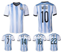 2014 Free Ship Best Thailand Quality Argentina Home Football Soccer Jersey MESSI  DI MARIA MARADONA Uniforms Kits Embroidery