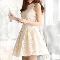 Korean Leeveless Elegant Dress New 2014 Summer Spring Chiffon Plus Size Casual Fashion White Retro Dress Clothes Tops