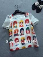 2014 new summer women short-sleeved organza skirt cartoon characters