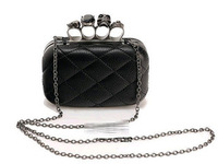 2014 vintage Skull purse,Black Skull Knuckle Rings Handbag Clutch Evening Bag With shoulder Chain Perfect