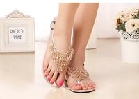 2014 korean bohemian lady  fashion beading  sandal flat heel flip flops women summer comfort shoe large size 34-41 Free shipping