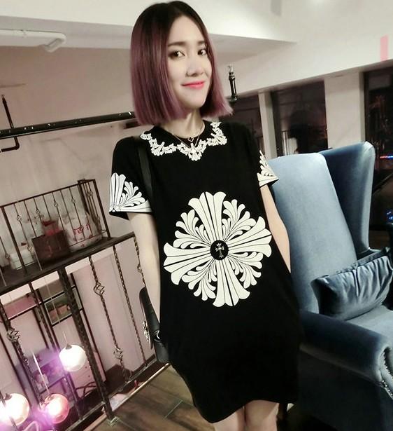 2014 summer maternity clothing maternity short-sleeve one-piece dress print loose maternity dress maternity clothing top(China (Mainland))