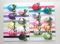 32pcs   Ribbon DIY sewing Satin Rose Flower Glued to Iridescent Elastic headbands  soft Hair bands SG8504