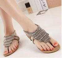 2014 lady  bohemian beading flat sandal  women retro punk  casual  flip flops  summer shoe european size 35-39