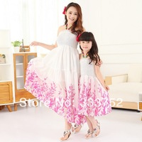 Free Shipping 2014 New Family Set Clothes For Mother And Daughter Girls Clothing Sets Children Accessories Bohemia Beach Dress