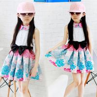 wholesale 2014 new arrival summer Big Girls dress clothing sleeveless pleated sweet  fresh princess one-piece dress H344