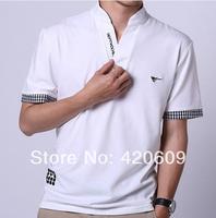 Hot Sale 2014 Men Summer Casual Brand Top Solid Slim Fashion Short Sleeve Polo Shirts Plus Size 4XL Turn Down Golf Shirt 1 pcs