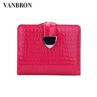 wallet women genuine leather crocodile pattern solid color patent chromophous wallet purse clutch handbag
