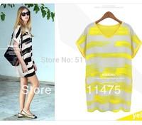 New 2014 summer women's handpainted fresh Contrast color stripe all match loose long T shirt  Mini dress short-sleeve plus size