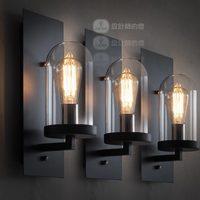 Loft american brief personality iron glass wall lamp